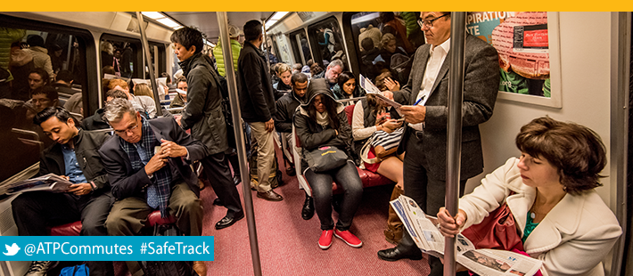Commuters on Metro Header Image, SafeTrack Surge 2