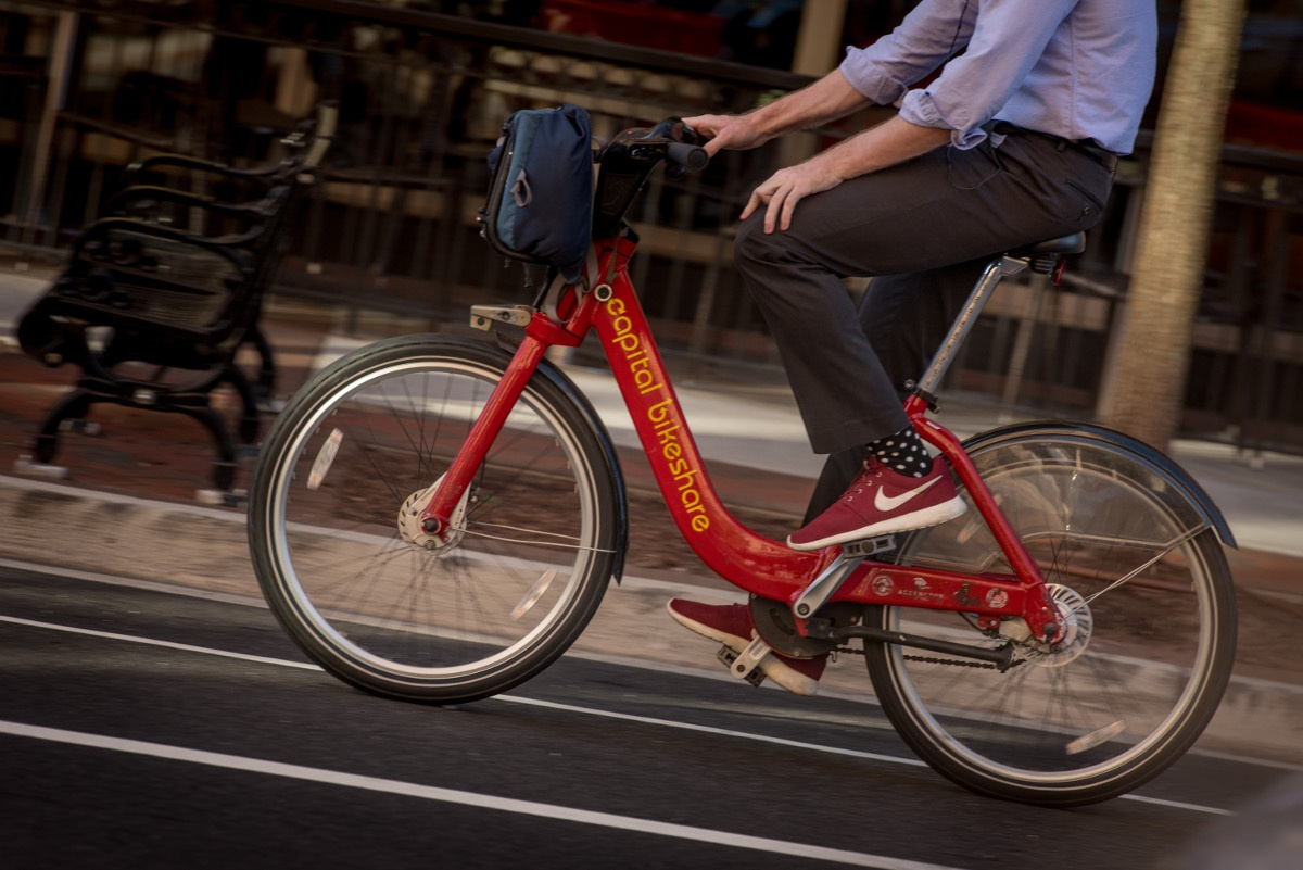 Man Riding Capital Bikeshare Closeup
