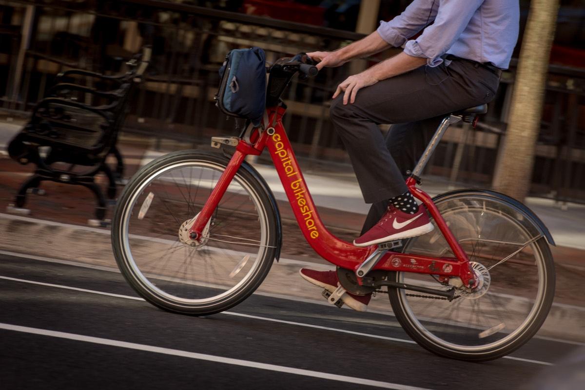 Man Riding Capital Bikeshare Closeup